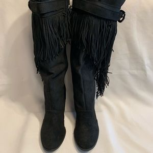 Naughty Monkey knee boots black frilly size 6.5